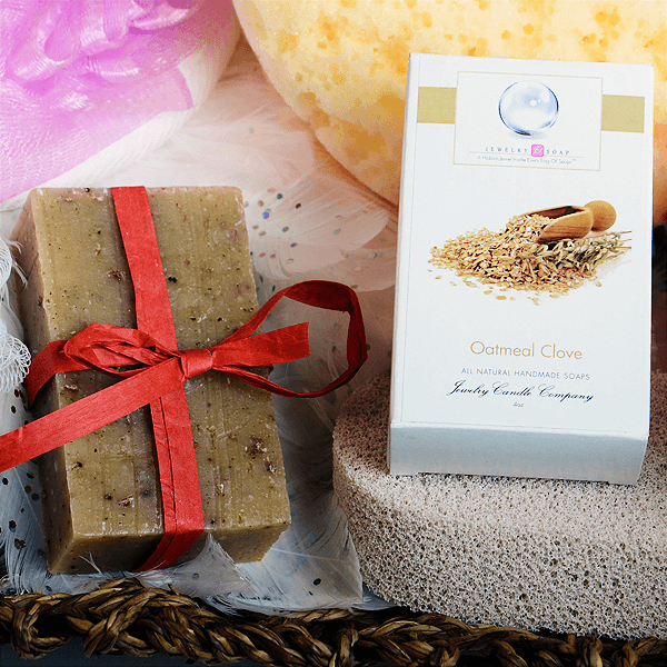 Oatmeal Clove Natural Soap w/Jewelry - Jewel Silk Scarves
