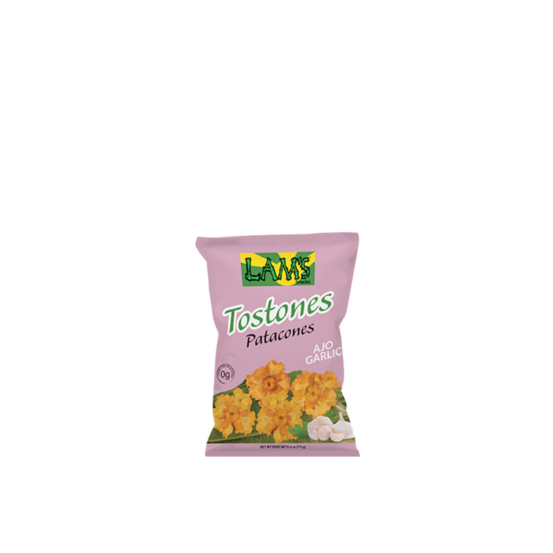 Tostones or Patacones with garlic, 113gr (Premium quality plantain chips)