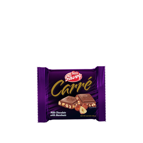 Carré, premium Savoy milk chocolate with hazelnuts by Nestle, box of 16 x 25gr