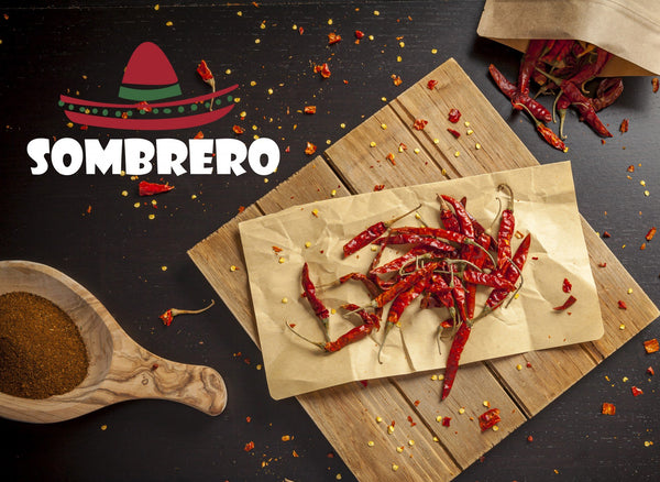 Dried Arbol Chili Peppers (Bird's peak or Rat's tail chili). Known as Mexico's hottest chili!