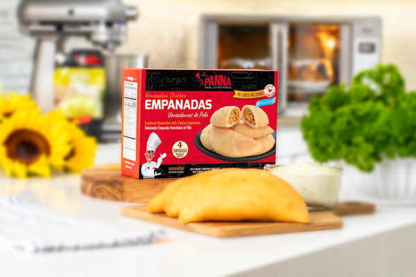 Venezuelan chicken empanadas, pre-cooked, no frying required! 4 full size units, 431gr