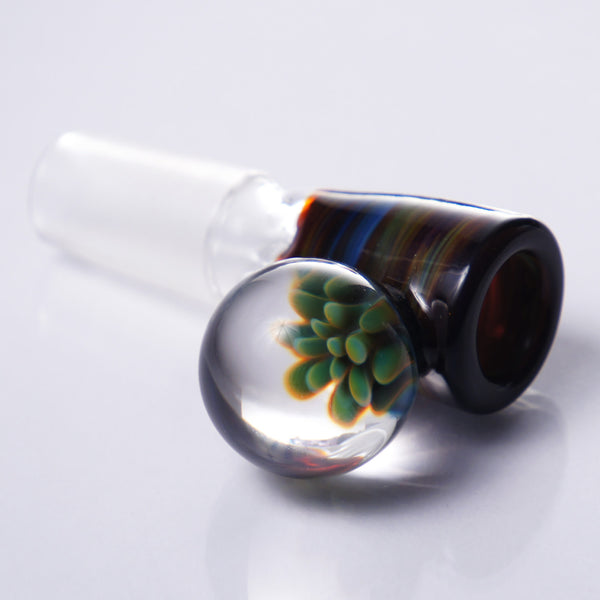 Mustard Glass Worked Pinch Slide 14mm #5