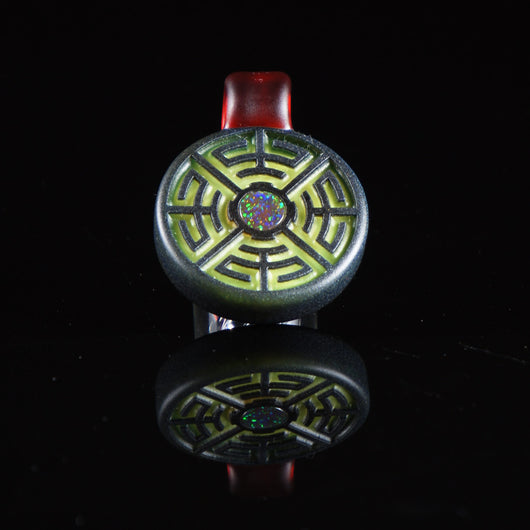 Glass Maze Pendant with 8mm Opal
