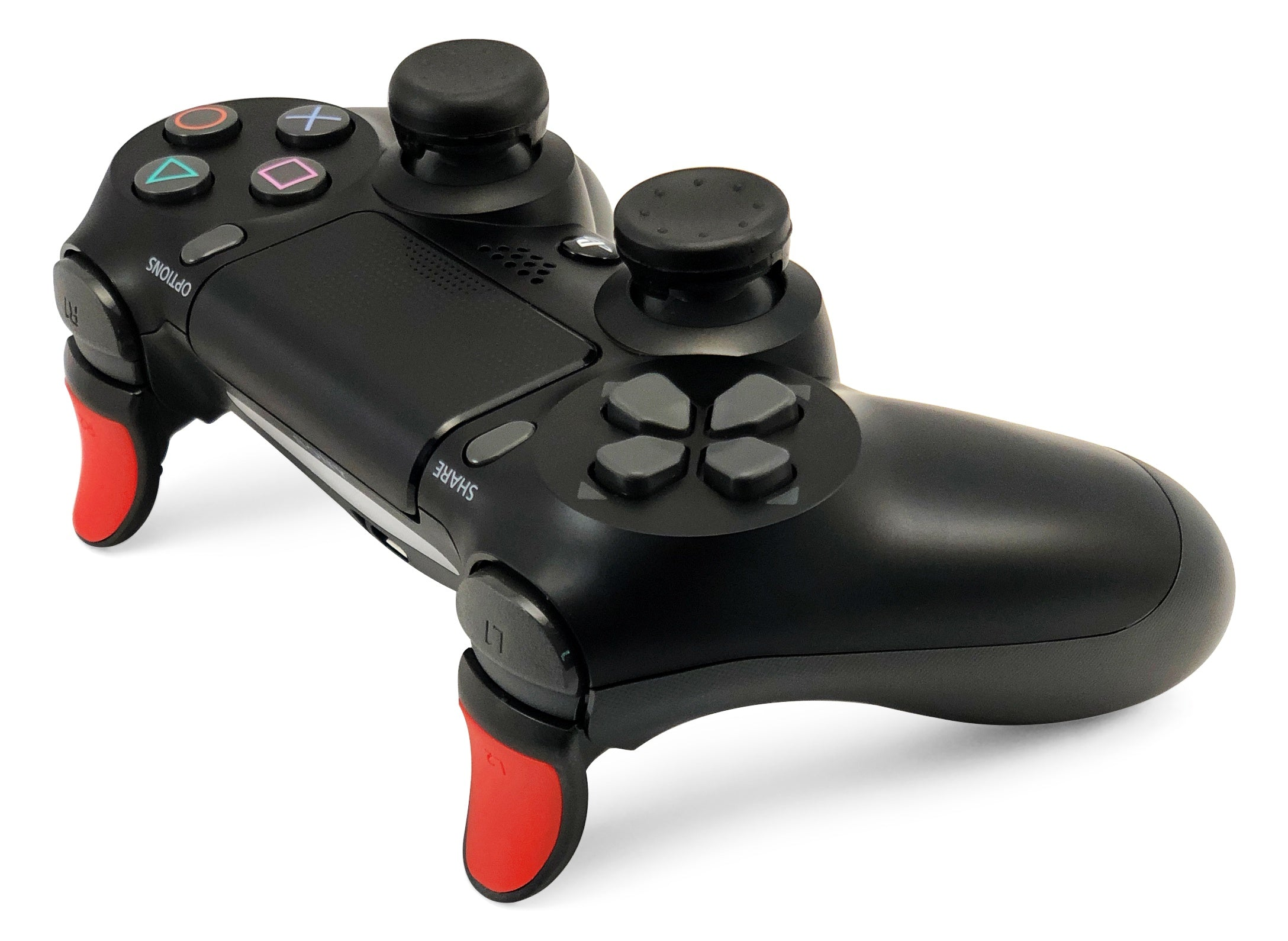 Weapons of Mass Destruction - PS4 Performance Triggers and Precision Thumbsticks - 1 Medium Stem & 1 Short Stem Stick - Black & Red
