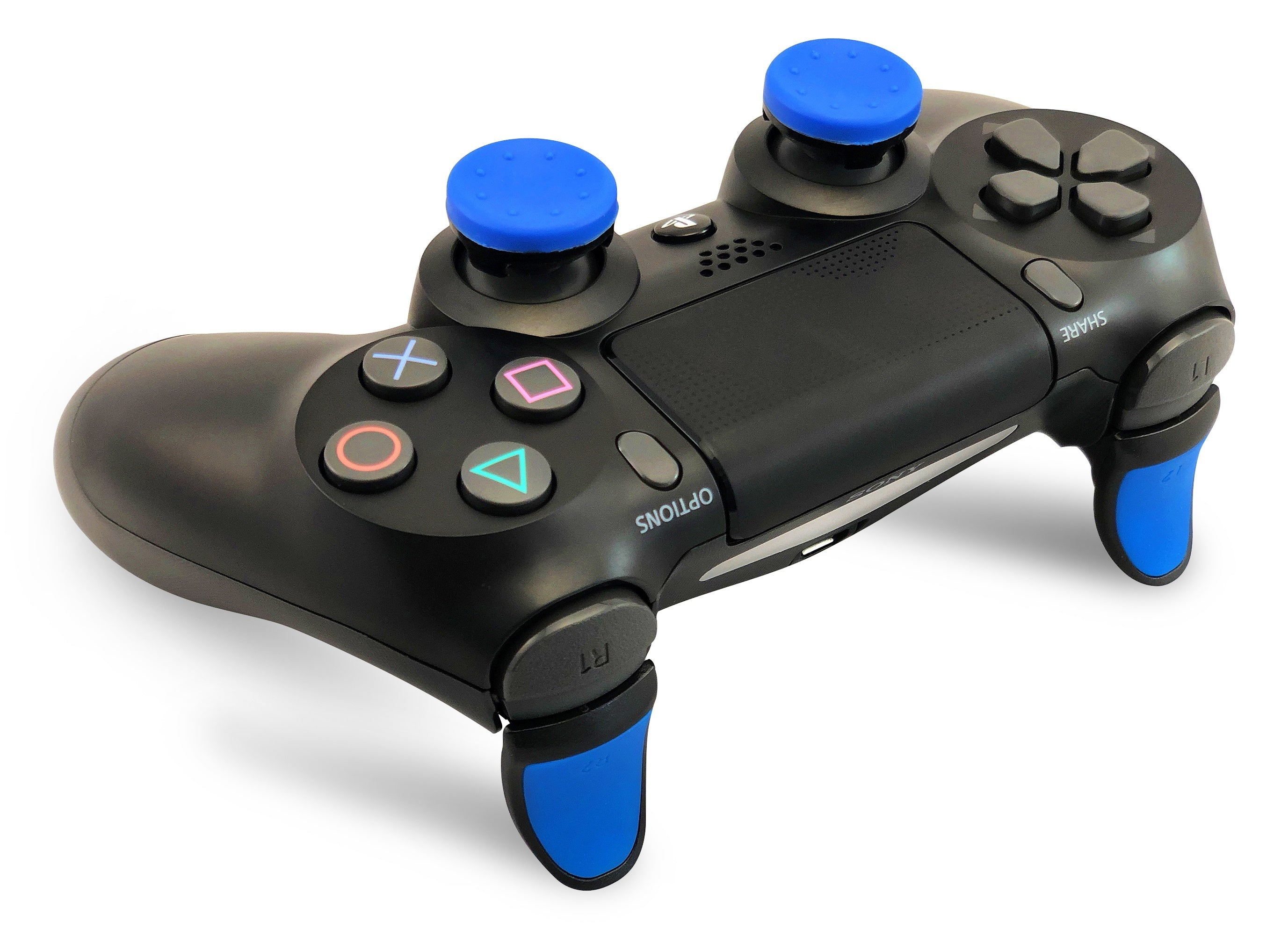 Weapons of Mass Destruction - PS4 Performance Triggers and Precision Thumbsticks - 2 Short Stem Sticks - Blue