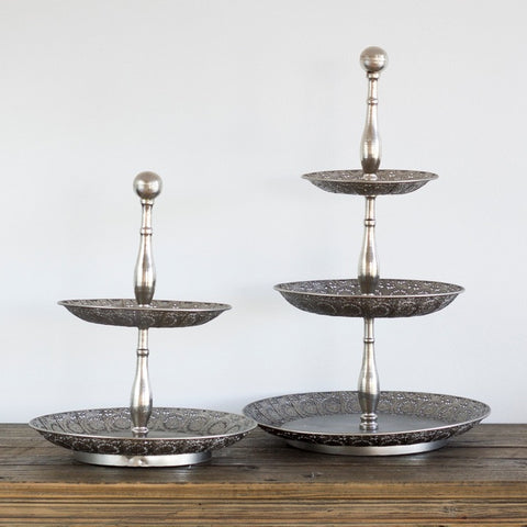 2 TIER SILVER FILAGREE STAND