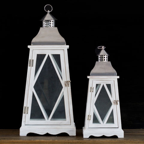SET 2 ANTIQUE WHITE WASH
