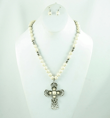 White Natural Stone and Cross Necklace