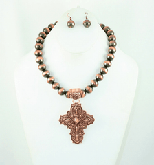 Bronzed beaded necklace and cross