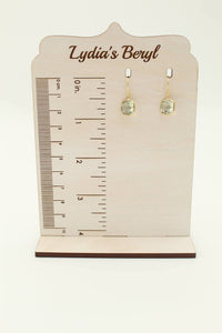 Prasiolite Cushion Cut Dangle Earrings