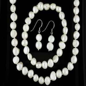 Genuine Freshwater Pearl Necklace Set (White)