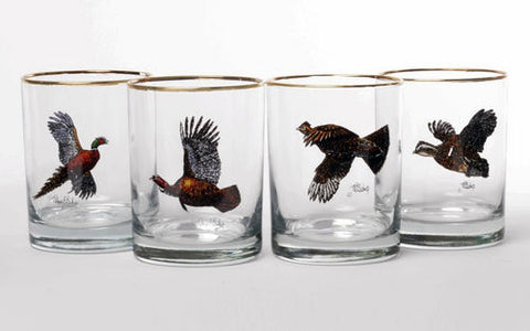 Upland Gamebirds Double Old Fashioned glass set