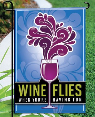 Wine Flies Garden Flag - Blue