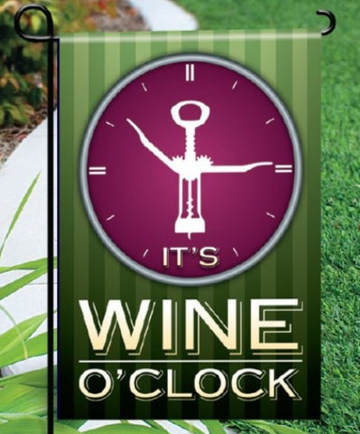 Wine O'Clock Garden Flag - Green