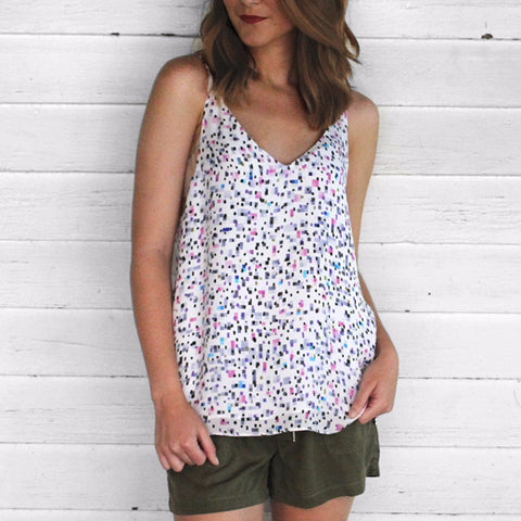 Heather Pixie Printed Silk Cami
