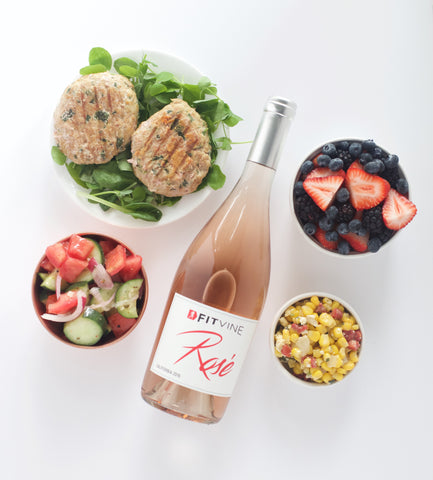 FitVine Rosé and Turkey Spinach Feta Burgers