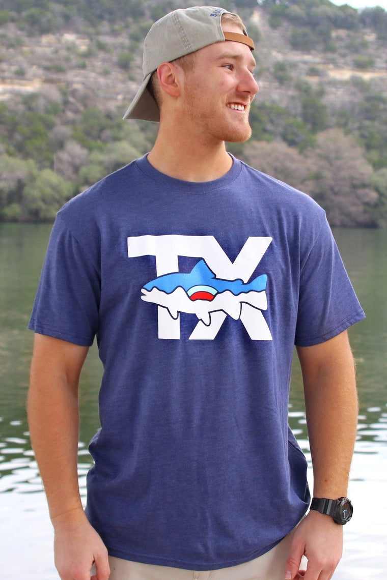 TX Fish - Heather Navy - Front Design