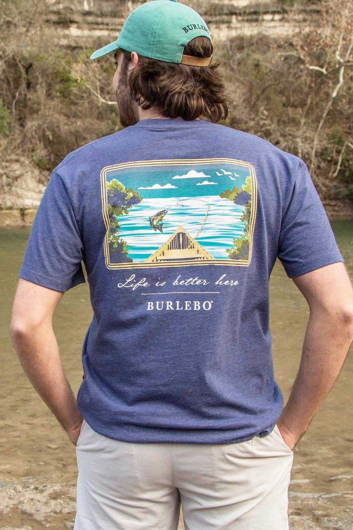 Life is Better Here - Heather Navy - SS Pocket - BURLEBO