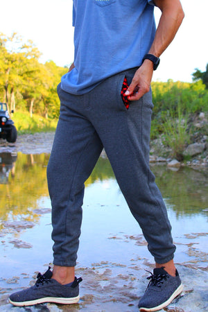 Dark Gray Joggers - Plaid Pattern - BURLEBO