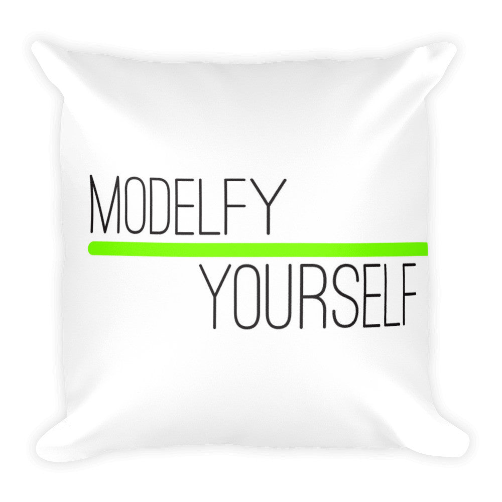 "ModelSupplies ""Modelfy Yourself"" Chic Square Throw Pillow 18x18 USA Made"