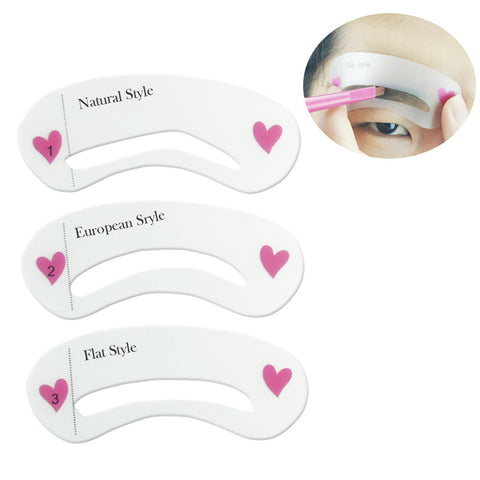 3 pcs/set Grooming Shaping Template Eyebrow Stencils Drawing Card Brow Make-Up Stencil 3 Styles For Eyes  DIY make up tools - ModelSupplies