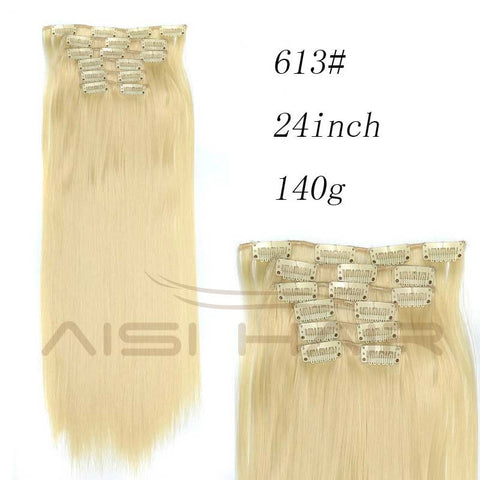 Synthetic Hair with Clips 16 Clip in Hair Extensions False Hair Hairpieces Synthetic 23