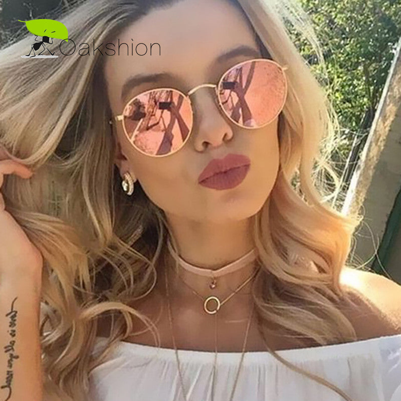 2017 New Sunglasses Women Rose Gold Metal Frame Circle Glasses Mirrored Brand Designer Round Sun Glasses for Women Lunette - ModelSupplies
