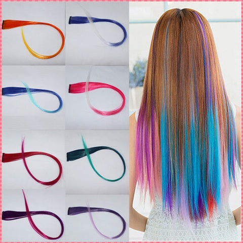hair extensions 2016 New Arrive fashion women's Long Synthetic Clip In Extensions Gradient Color cosplay  hair pieces #JO009 - ModelSupplies