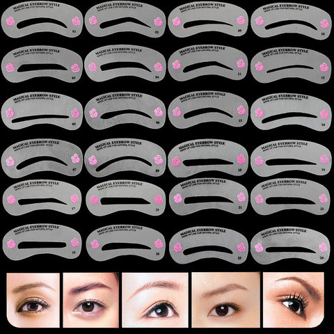 24 Pcs Pro Reusable Eyebrow Stencil Set Eye Brow DIY Drawing Guide Styling Shaping Grooming Template Card Easy Makeup Beauty Kit - ModelSupplies