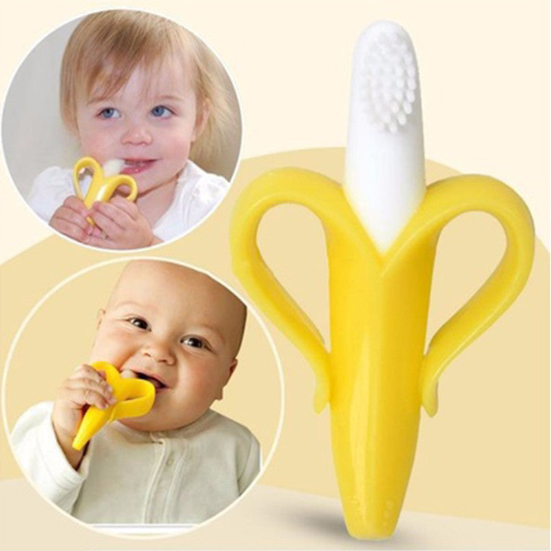 Silicon Banana Bendable Baby Teether Training Toothbrush Toddler Infant Massager Children Teething Ring - ModelSupplies