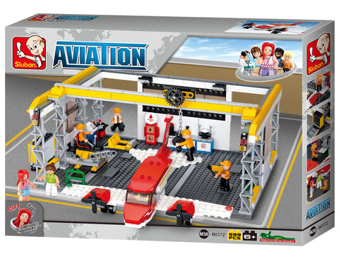 Building Blocks 599 Piece Hangar and plane set