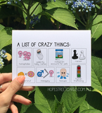 Hope Street Cards, Mental Health Card (General) A List of Crazy Things