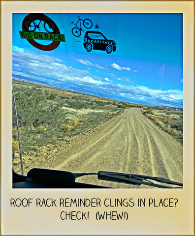 Roof Rack Reminder Window Cling Reminder in Use on our VW