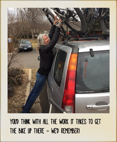 Just in case we forget our bike is on the roof rack. Get our bike rack reminder.