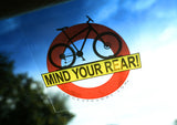 MIND YOUR REAR Removable and Reusable Vinyl Window Cling 4 X 4 Inches FREE SHIPPING! - Look Up Dummy!™