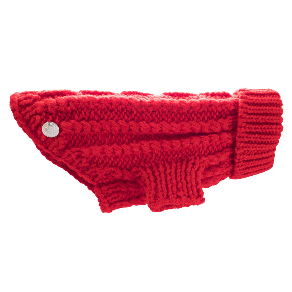 Cool Pups Red Cable Knit Sweater for Dogs by United Pups