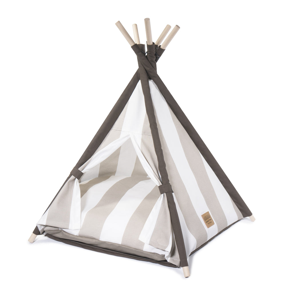 Elegant Pups Designer Dog Teepee tent house.  Dog Teepee for small and medium sized dogs. Side angle view.