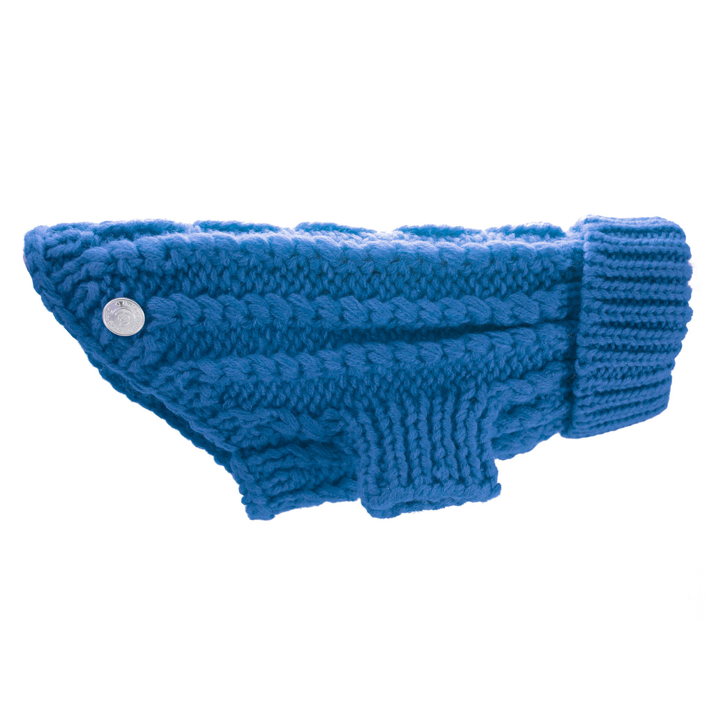 Blue Cable Knit Dog Sweater for Small Dogs Side Full View