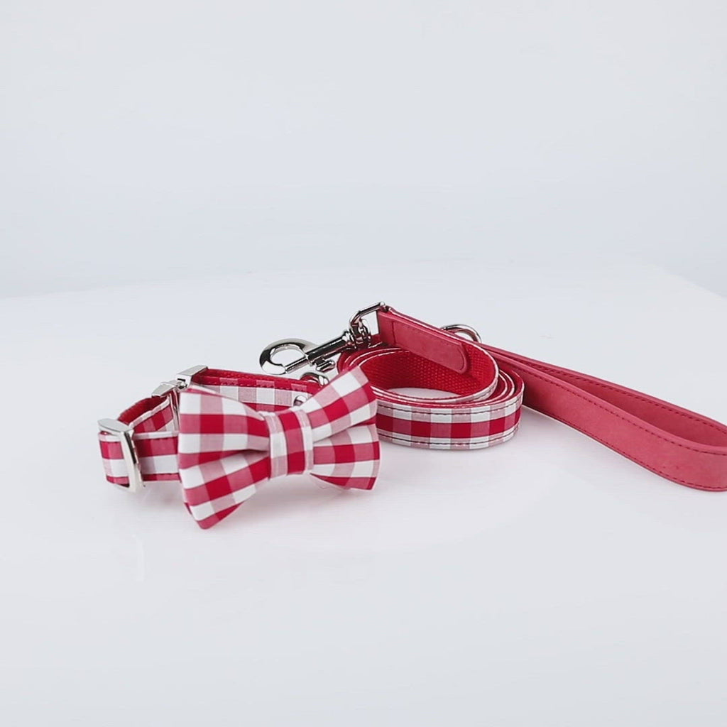 United Pups Cool Pups Red Gingham Collar with Bow Tie and Leash