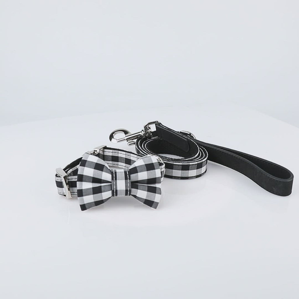 United Pups Modern Pups Gingham Plaid Collar with Bow Tie and Leash