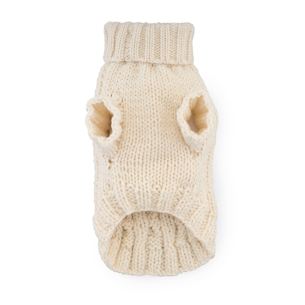 Modern Pups Ivory Cable Sweater with Scarf by United Pups