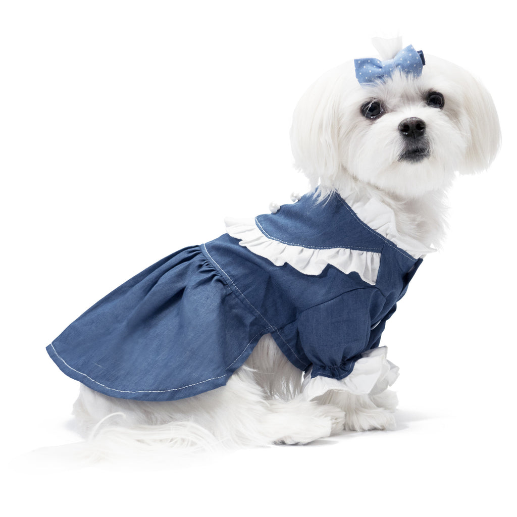 Chill Pups Flawless Lace Dark Denim Dress for Dogs by United Pups