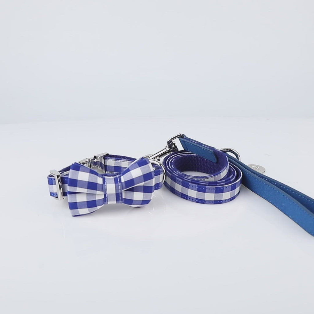 United Pups Chill Pups Blue Gingham Plaid Collar with Bow Tie and Leash