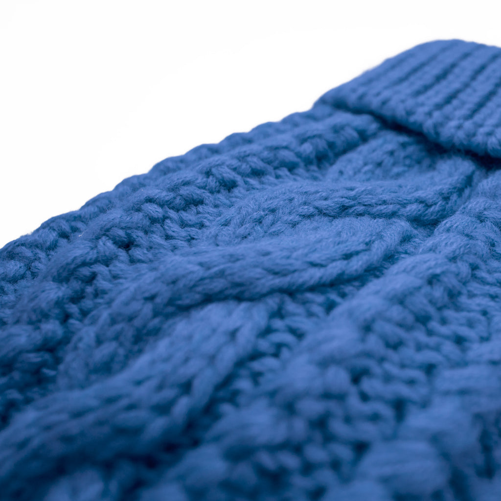 Blue Cable Knit Dog Sweater Cable Pattern