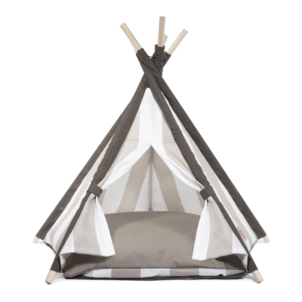 Elegant Pups Designer Dog Teepee tent house.  Dog Teepee for small and medium sized dogs. Showing velvet cushion.