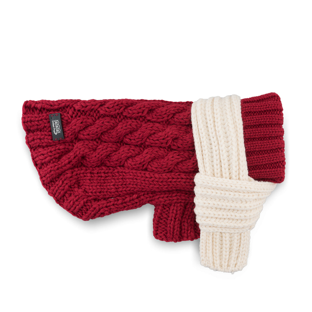 Cool Pups Crimson Cable Sweater with Scarf by United Pups