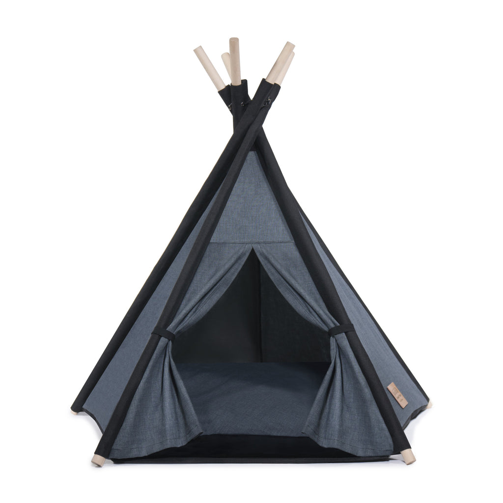 l Pups Gunmetal Gray and Black Teepee for Dogs by United Pups (grey cushion facing up)