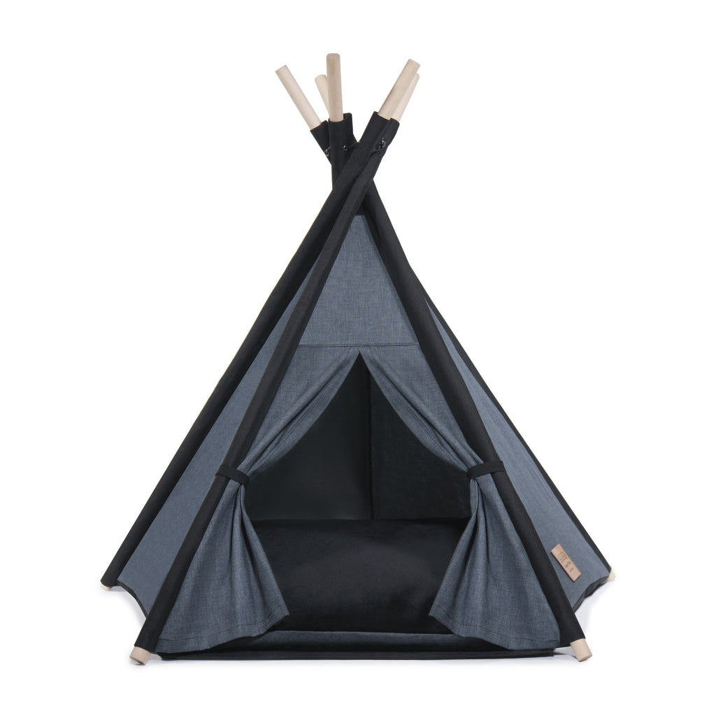 l Pups Gunmetal Gray and Black Teepee for Dogs by United Pups (black cushion facing up)