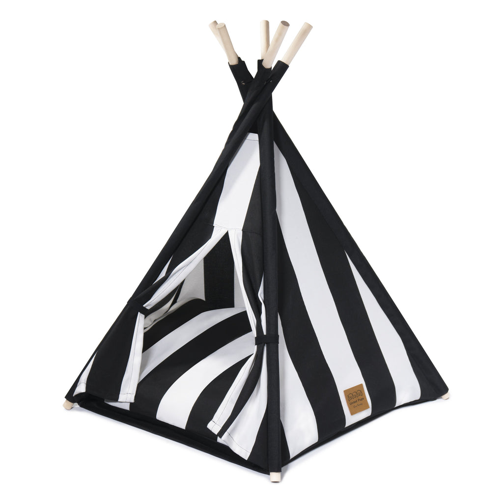 Cool Pups Black and White Stripe Teepee for Dogs by United Pups (Stripe cushion facing up)