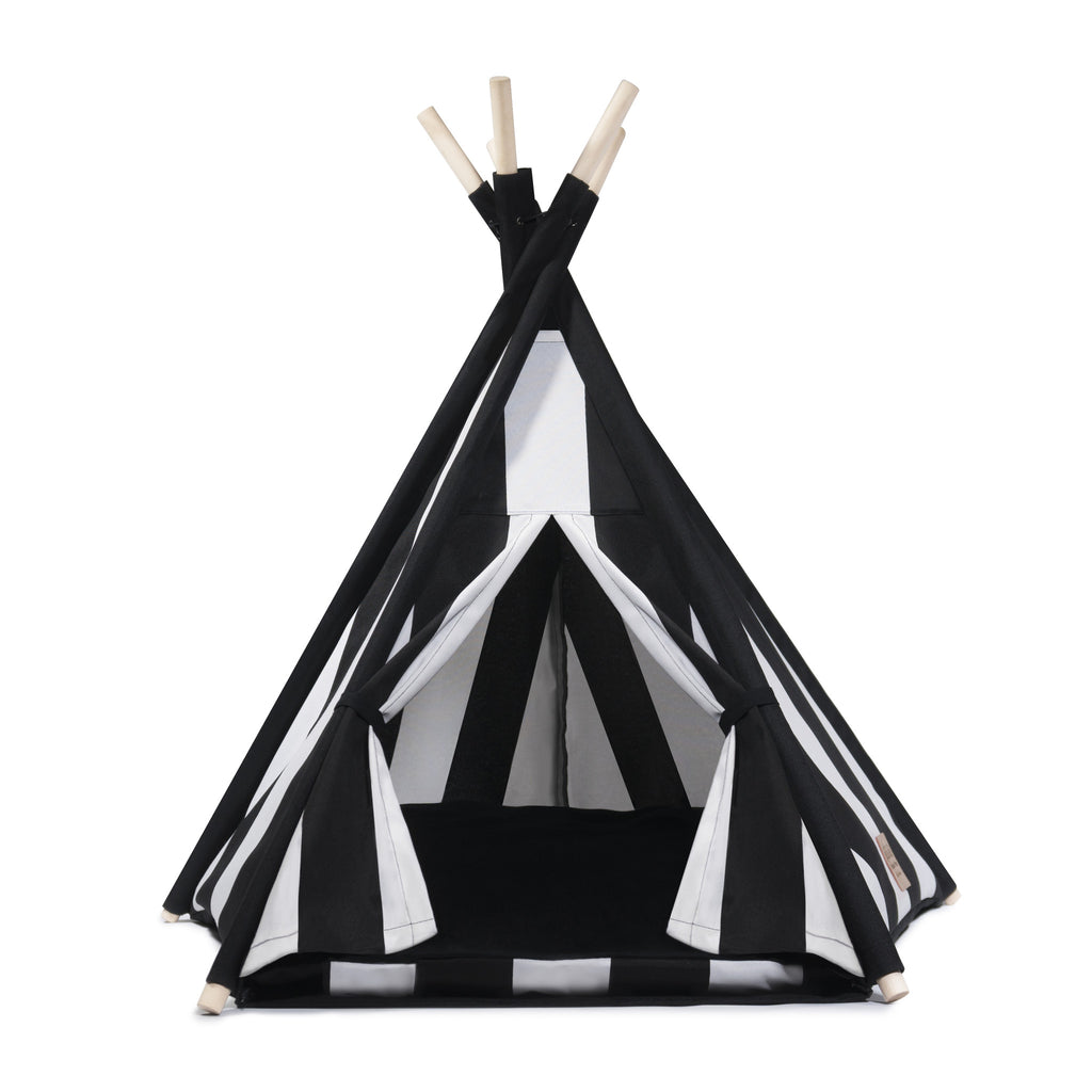 Cool Pups Black and White Stripe Teepee for Dogs by United Pups (Black velvet cushion facing up)